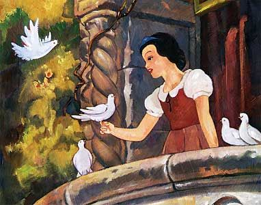 Snow White and the Seven Dwarfs - Snow White on the Balcony - Jim Salvati - World-Wide-Art.com - $395.00 #Disney #JimSalvati