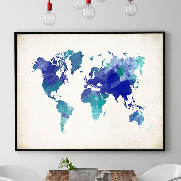Watercolour World Map Wall Art, World Map Poster, World Map Print, World Map Art Work, Map Gift Kids Room Wall Art Decor (730) by PointDot on Etsy