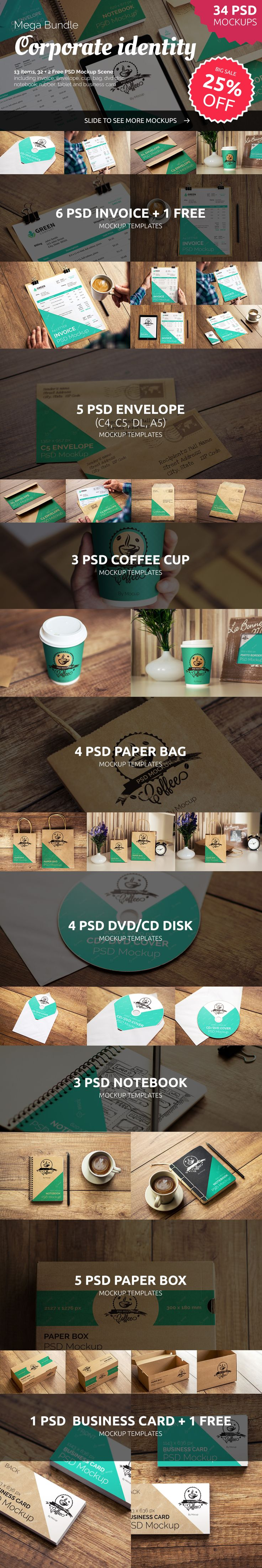 NOW 25% OFF! We are happy to introduce to you this huge set of 34 PSD of corporate indentity mockups perfect for making brandings and logo previews in a realistic and inspiring way. We did our best to compile varied branding stuff such are business card, invoice, envelope, disk, note, rubber, letter, Ipad Air 2 and more… Not only able to present your projects, but ready to become a part of your next creative work! All made with cup of coffee and love.