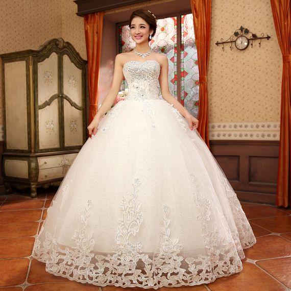 2017 new wedding dress fashion new arrival bra chest Slim wedding dress luxury lace diamond wedding