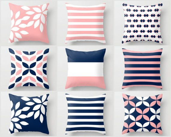 Throw Pillow Covers Blush Navy White Home Decor by HLBhomedesigns