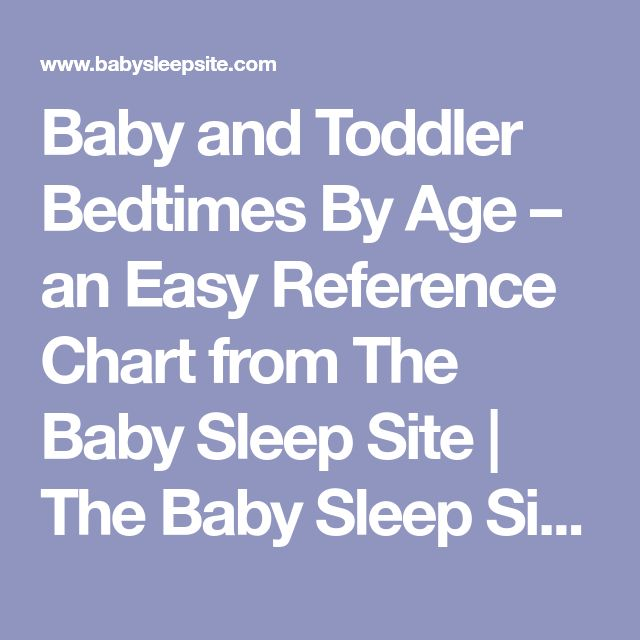 Baby and Toddler Bedtimes By Age – an Easy Reference Chart from The Baby Sleep Site | The Baby Sleep Site - Baby / Toddler Sleep Consultants