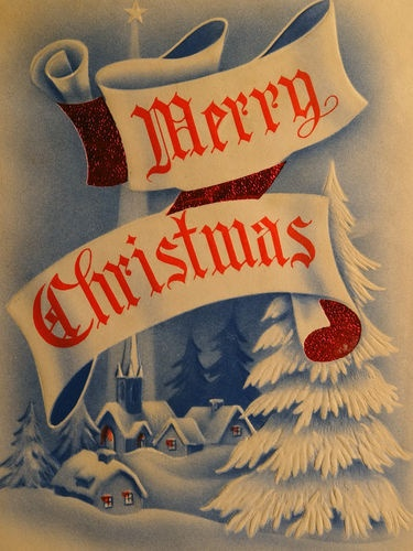 1940s Vintage Christmas Card  Snow - Merry Christmas - Village