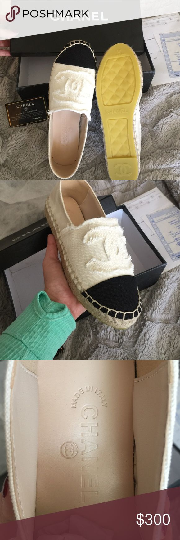Chanel espadrilles 6 women's For sale are Chanel espadrilles brand new never worn. I can't guarantee authenticity I bought from an estate sale and they didn't fit. So bummed I loved them a lot. Does come with the card and the box, very comfortable, never worn. Ivory and black! Says 37 on the bottom but I'm a 6.5 and they are a tiny bit too small so I'm going to say a 6 CHANEL Shoes Espadrilles