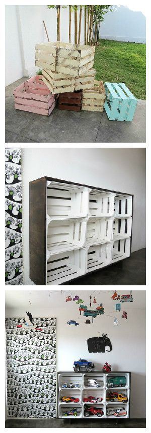 I upcycled fruits crates to create a storage unit. I first painted the crates, then, I make a frame using a plywood panel. The process was quite simple, and I only used nails, glue and brackets to make the plywood frame. We put it in my son bedroom as a toy storage, but it will work perfectly as a b…