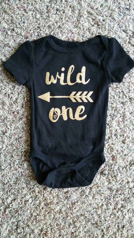 Wild One Baby Girl Gift Baby Girl Onesie Glittery by WordsOfIvy