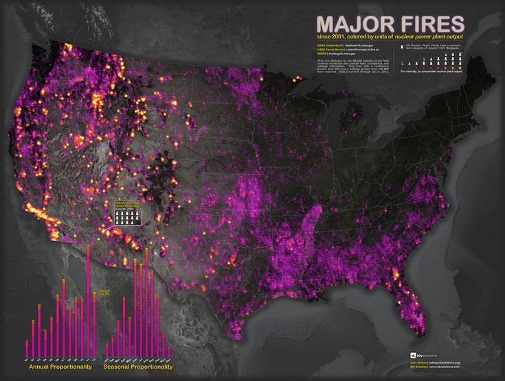 A Map Of Major U S Fires Since 2001 As Measured In Units Of Nuclear Power