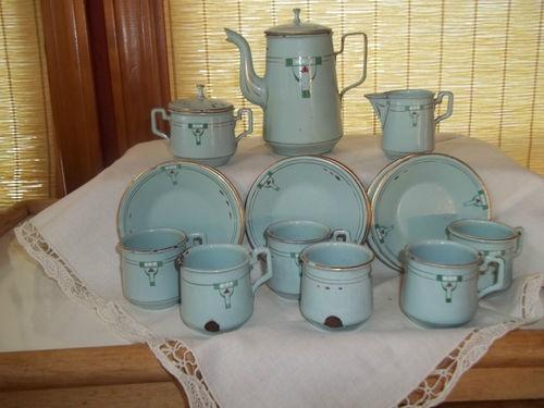 Antique Tea Set Enamel Ware Child Or Doll Size Late 1800 Quot S