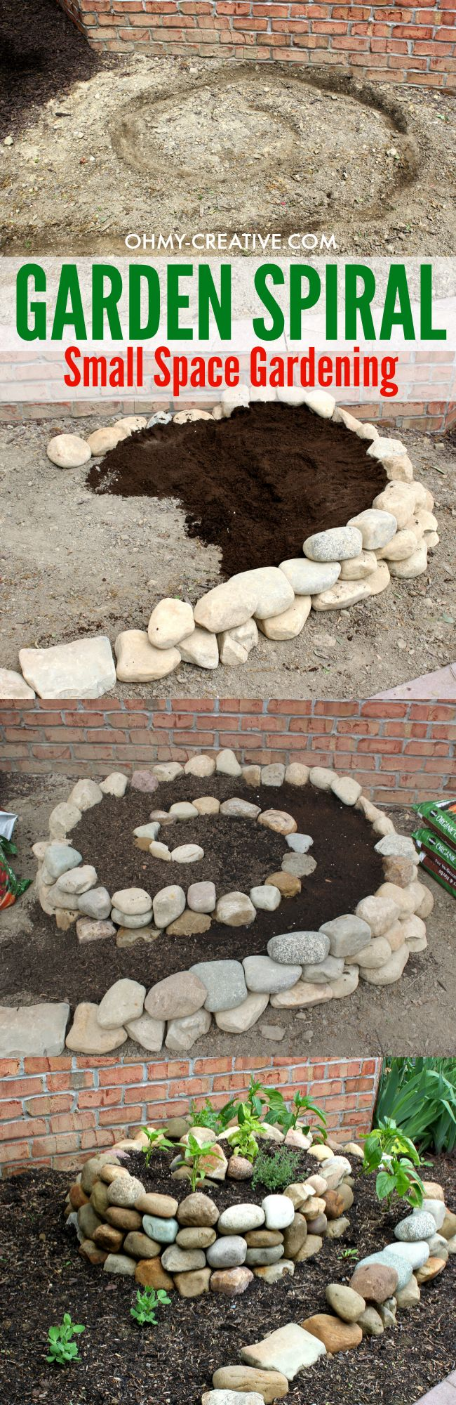 This Garden Spiral is a great way to create a vegetable garden when you only have a small space to work with. Plus it looks pretty in the yard - a great conversation piece!  |  OHMY-CREATIVE.COM #FlowerGardening