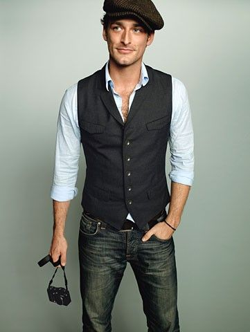 This look (vest, dress shirt & denim) works without the hat for work and with the hat for after hours.