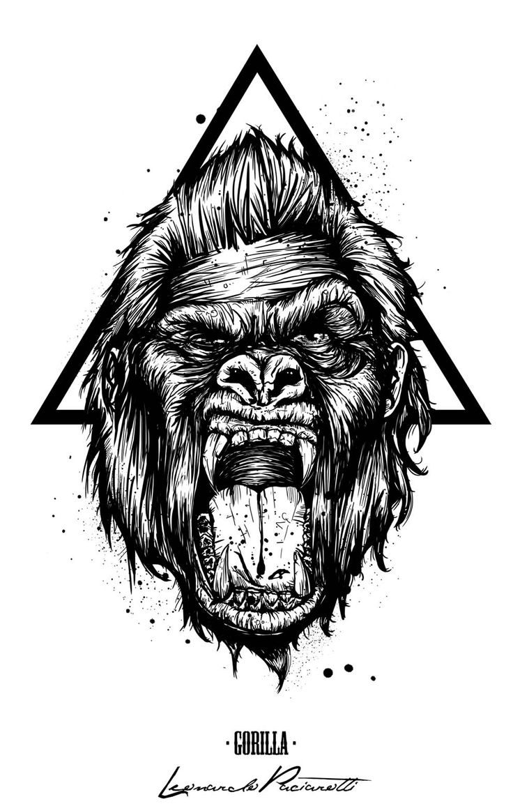 Top Gorilla Tattoo Drawings Images for Pinterest Tattoos