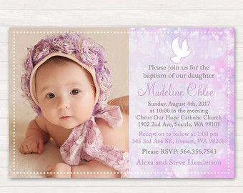 Pink Baptism Invitation Dove Christening by printablecandee