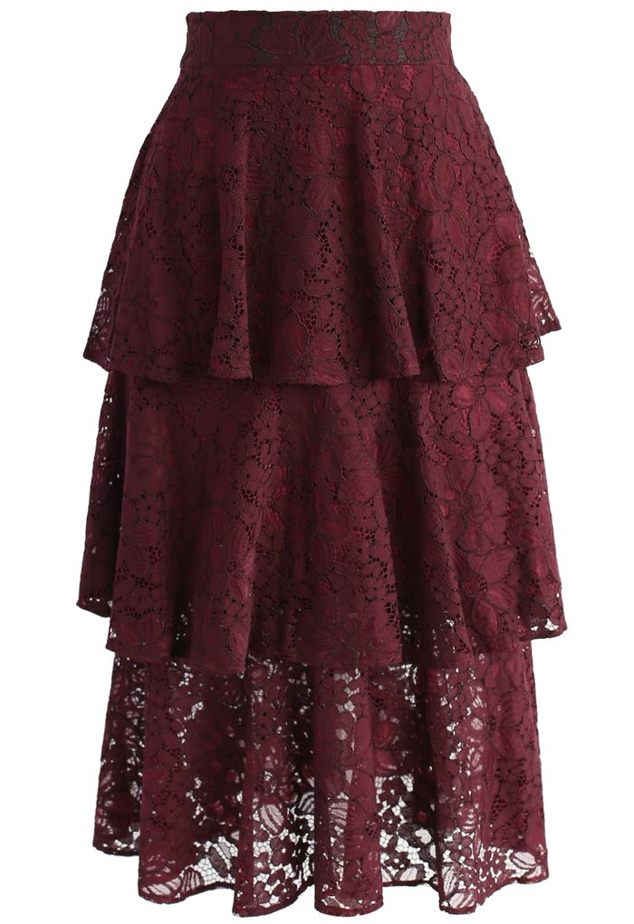 Marvelous Full Lace Tiered Skirt in Wine - New Arrivals - Retro, Indie and Unique Fashion