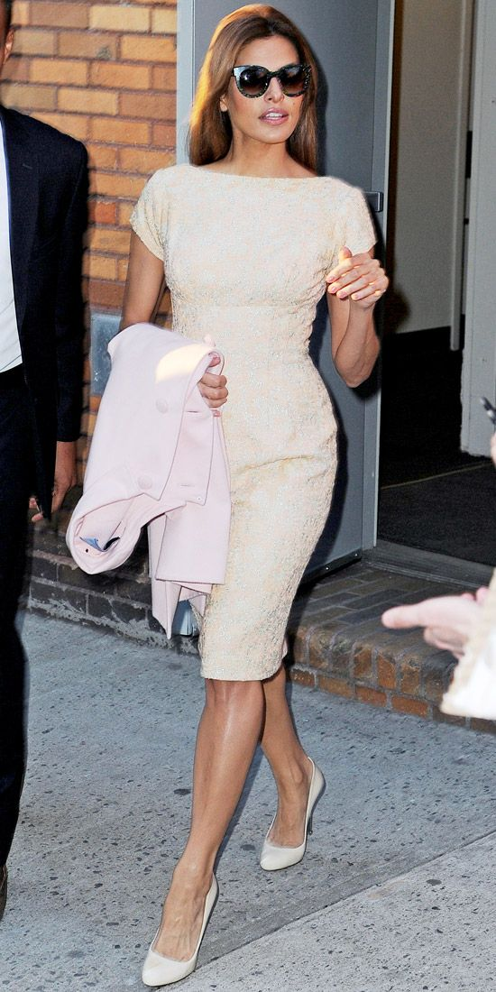 Mendes exited her New York hotel in a ladylike dress and white heels.