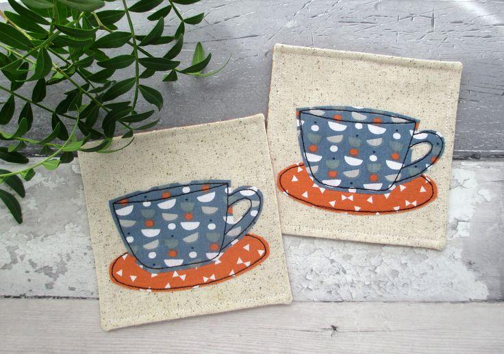 Coaster Set, Cup Coasters, Housewarming Gift, Modern Decor, Tea Coasters, Drink Coasters, Coffee Coasters, Fabric Coasters, Unisex Gift by TheCornishCoasterCo on Etsy