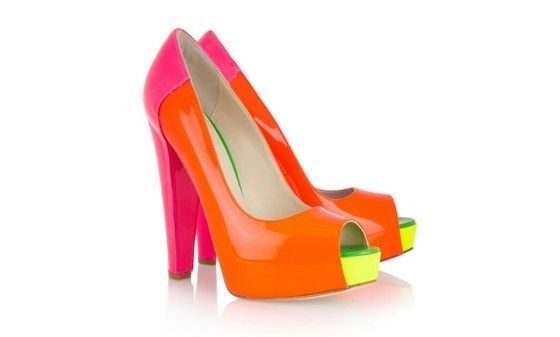 Fashion Fix Daily: Neon  Neon Heels You Must Have  Brian Atwood Alima Neon Patent Pumps, $795, Net-a-Porter.com