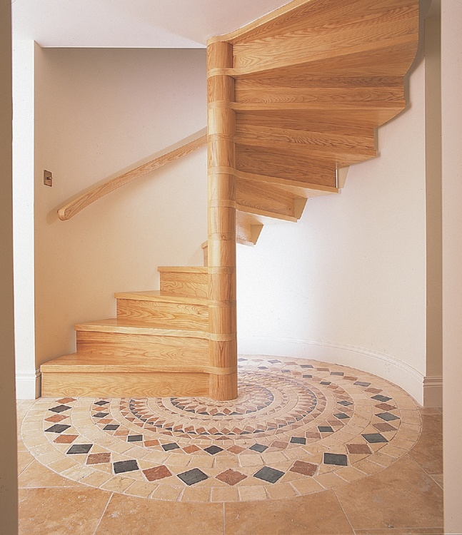Wooden Spiral Staircase Turning Through 180 Degrees