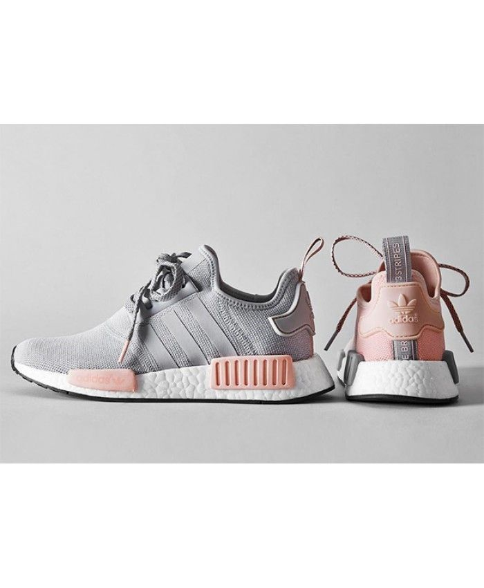 Femme Adidas NMD R1 Gris Clair Doux Rose Adidas latest ladies leisure sports shoes, style fashion, light.