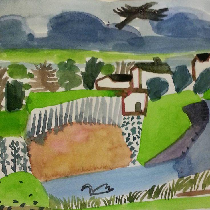 Alone swan. - - - #watercolor #watercolourart #sketchbookpage #landscape #swan #birds #illustratorsoninstagram #contemporaryart #dailypainting #memoriesfromourwalks #abstractart #instaartist #watercolours #countrylivivg