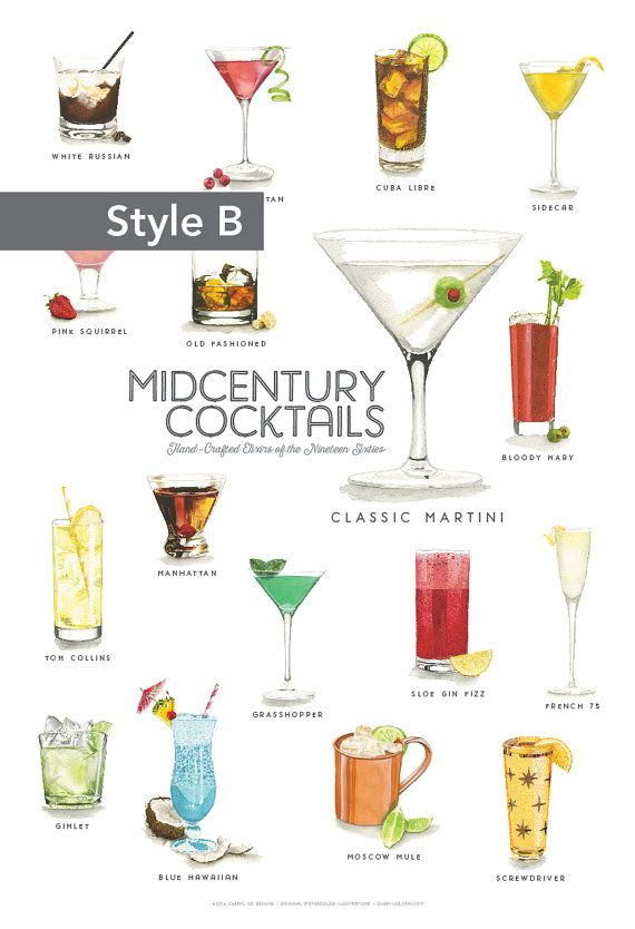 Mid Century Cocktails Watercolor Illustration Print by cheryloz
