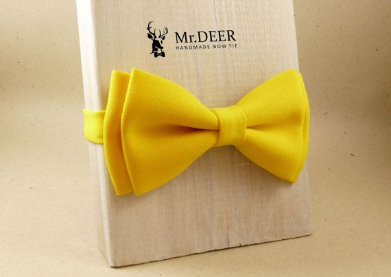 Bright Yellow Bow Tie  Ready Tied Bow Tie  Adult by MrDEERbowtie