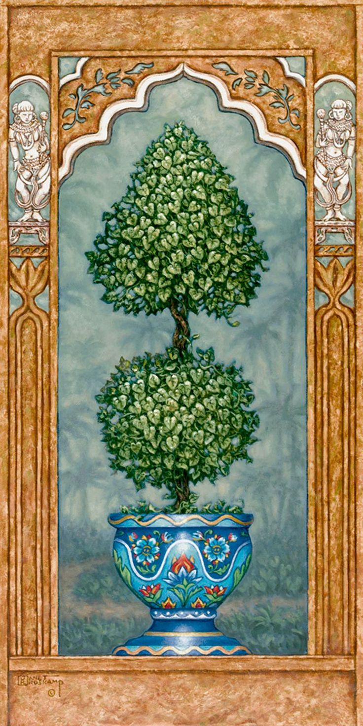 Temple Topiary 1, a painting of a carefully sculpted tree in a blue planter, one of Janet Kruskamp's Original Oil Paintings, ,  by artist Janet Kruskamp