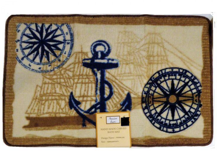 Ocean+Life+Nautical+Bath+Mat+Anchor+Seashells+Compass+Beach+Rug $28,95