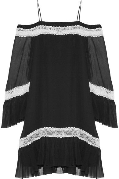Alice Olivia - Willie Cold-shoulder Lace-trimmed Silk-chiffon Mini Dress - Black - US8