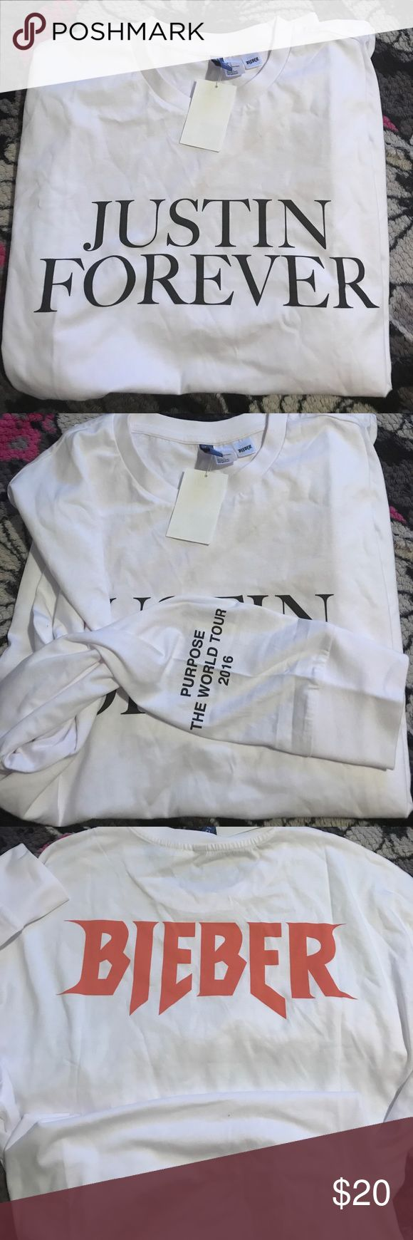 Long sleeve Justin Bieber H&M shirt Brand New! Never Been Worn! With Original Tags! H&M Tops Tees - Long Sleeve