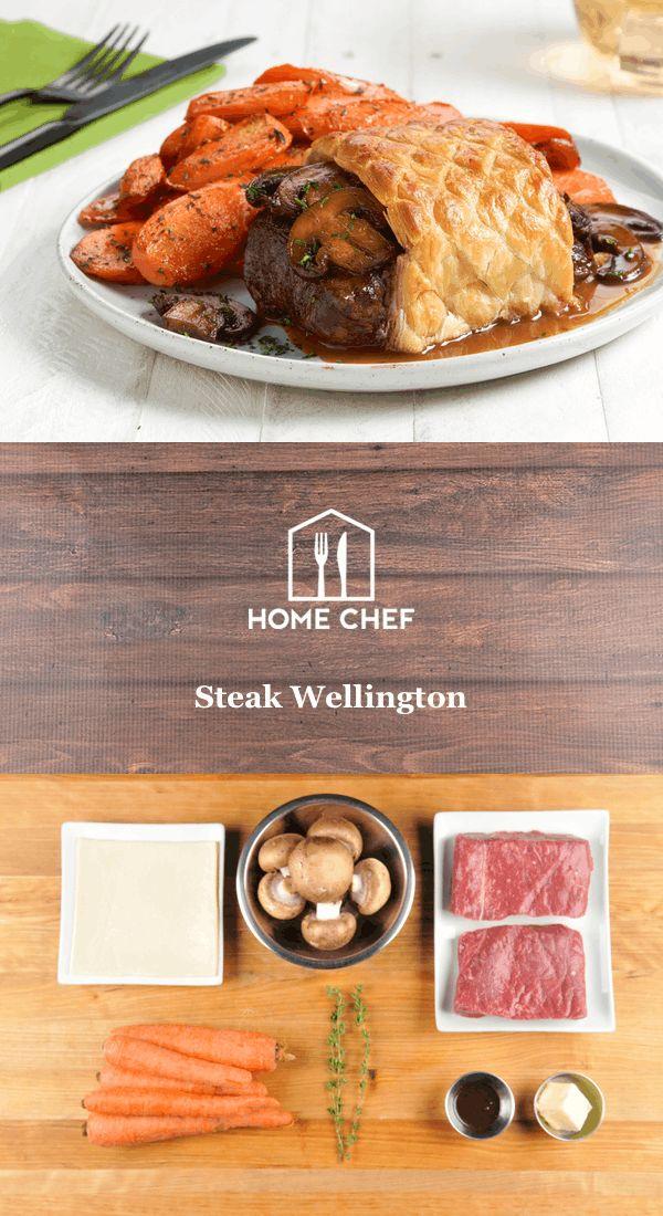 Steak Wellington with roasted carrots and mushroom demi-glace