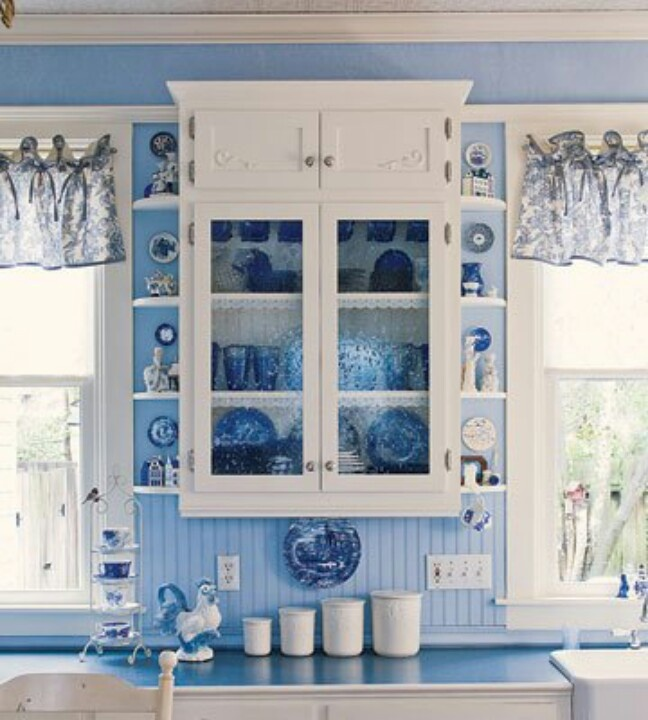 Country blue kitchen decorating ideas home pinterest for French blue kitchen ideas
