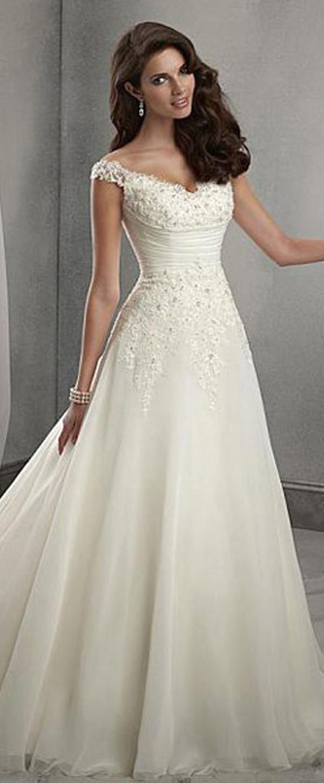 Elegant Organza & Tulle V-neck Neckline Natural Waistline A-line Wedding Dress W…