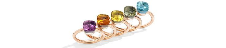 Les mini Nudo de Pomellato, Perchés sur un anneau d'or rose, ces solitaires fantaisie, taillés dans du quartz lemon, de l'améthyste ou encore de la topaze azur s'accordent parfaitement au gré des envies.