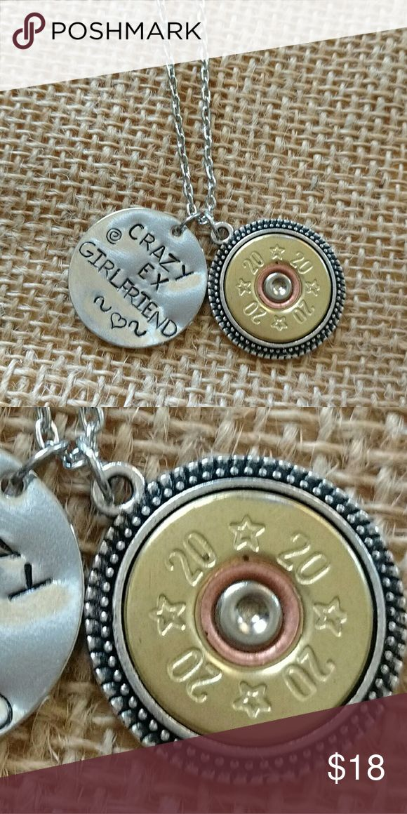 """20 Gauge Shotgun Shell Necklace """"Crazy Ex-Girlfriend"""" necklace with handcut and polished recycled 20-gauge shotgun she'll charm.  Silver/rhodium chain is 18 inches.    Handmade by me.  Made in Michigan.  Made in USA.  Gun jewelry, bullet jewelry, ammunition jewelry, Shootergirl Jewelry Necklaces"""