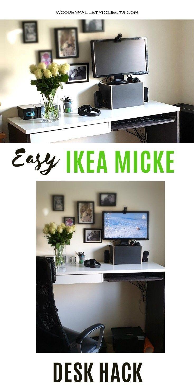 Ikea Hack Standing Desk In 2020 Cheap Ikea Desk Ikea Micke Desk Ikea Micke