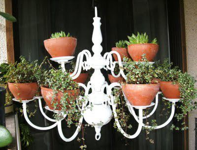 Another great idea for an old chandelier!: Plants Hangers, Plants Chand, Idea, Plants Stands, Outdoor Rooms, Flowers Pots, Herbs Gardens, Hanging Planters, Gardens Plants