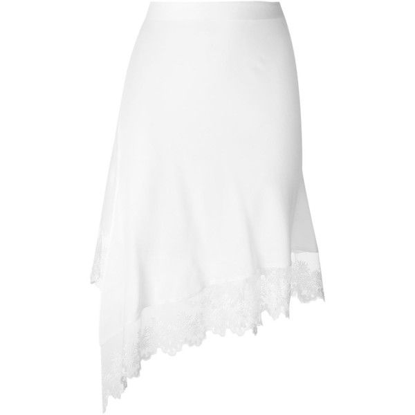 Givenchy asymmetric midi skirt ($1,580) ❤ liked on Polyvore featuring skirts, white, high waisted midi skirt, white skirt, white lace skirt, white asymmetrical skirt and high-waist skirt
