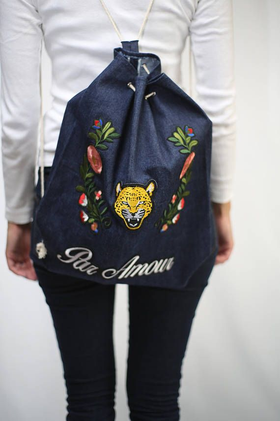Handmade Unique Bucket Drawstring Denim Jeans Patched embroidery birds tiger flower bucket drawstrings bag backpack urban style hipster grunge kawai harajuku tenage woman girls school