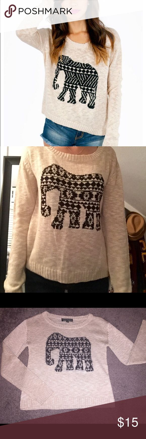 Almost Famous Elephant Sweater Adorable cream colored Elephant sweater, by Almost Famous. PERFECT condition, only worn twice!. SIZE: S Almost Famous Sweaters Crew & Scoop Necks