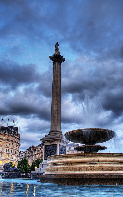 Trafalgar Square A 145-foot-high monument, bearing a statue of Lord Horatio Nelson guarded by lions, marks the spot considered the center of London.
