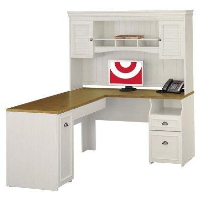 bush fairview lshaped computer desk and hutch white