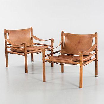 """FÅTÖLJER, ett par, Arne Norell, """"Sirocco"""", 1900-talets andra hälft. Cites-intyg."""