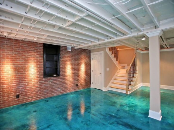 Basement Room With Stained And Sealed Concrete Floors
