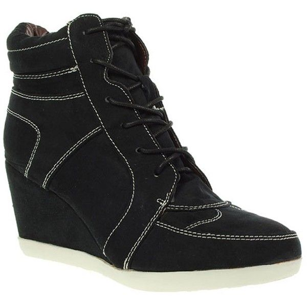 Black Wedge Trainer Shoes (88 BRL) ❤ liked on Polyvore featuring shoes, sneakers, chiara, wedge trainers, black trainers, black sneakers, black wedge sneakers and sneaker wedge shoes