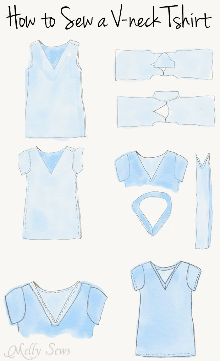 Instructions - Sew a V-neck Women's T-shirt - Use this free pattern and tutorial from Melly Sews. Every girl needs this!