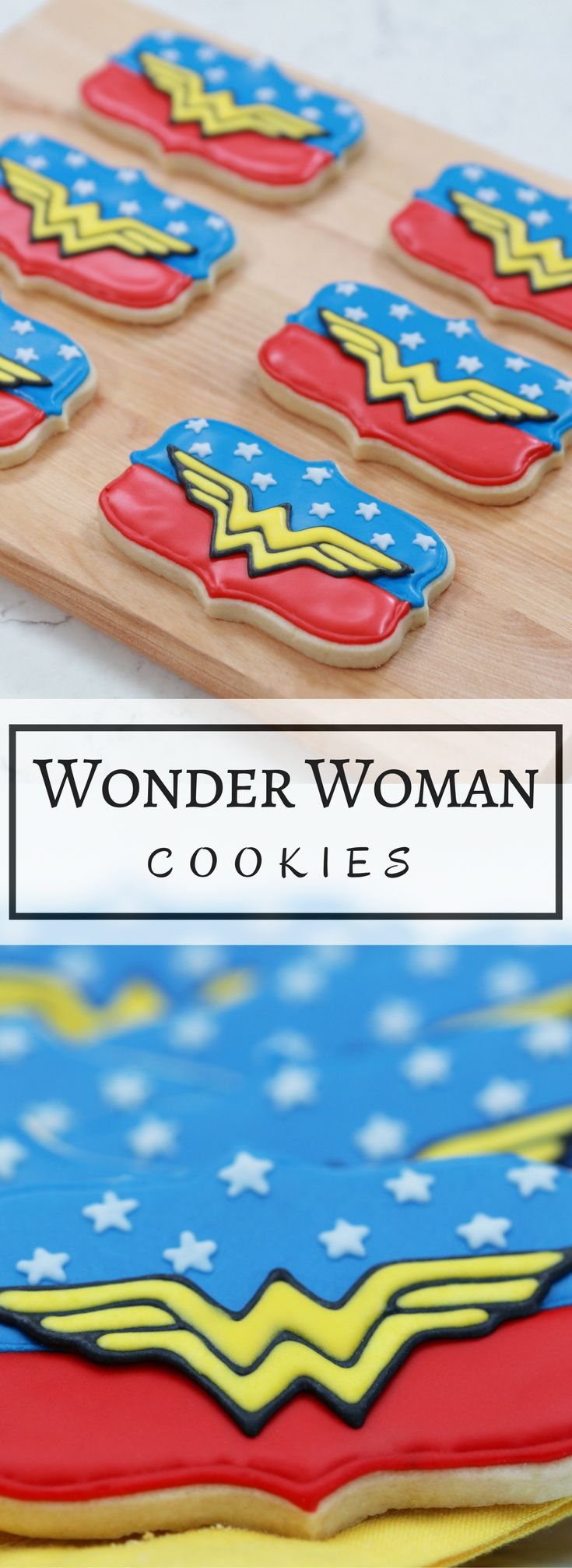 A dairy free lemon sugar cookie made from scratch and decorated to look like the Wonder Woman insignia! Save the day with these wondrous Wonder Woman Cookies!