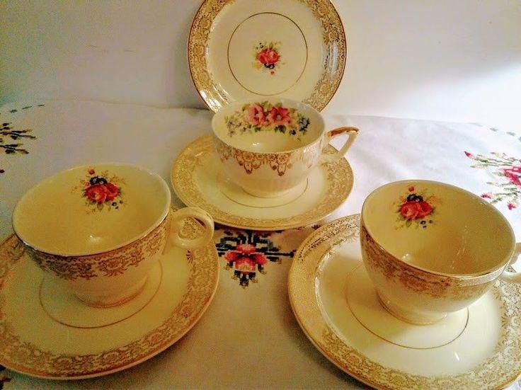 Vintage Taylor Smith Taylor U.S.A 6403 TeaCup & Saucer, Floral Gold. #TaylorSmith