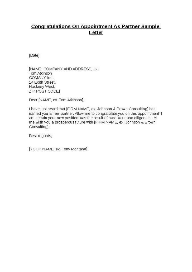congratulations appointment partner sample letter hashdoc