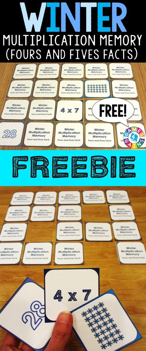 FREE Winter Multiplication Memory Game makes practicing fours and fives multiplication facts fun! Included are 45 memory cards for students to match the multiplication array, multiplication fact, and product. This is a perfect activity for small groups and centers during the winter season!