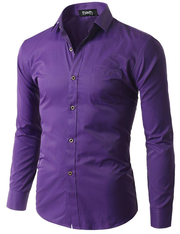 Black Buttoned Premium Solid Long Sleeve Dress Shirt #doublju